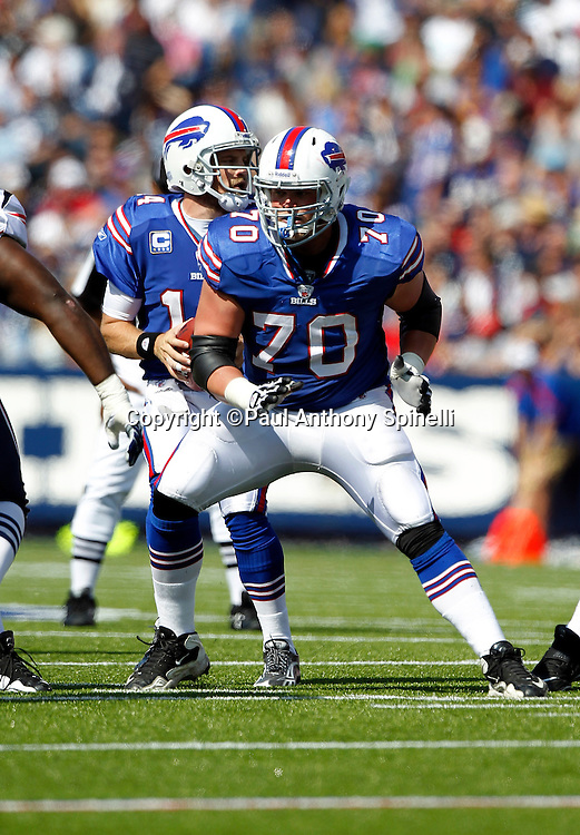 Buffalo Bills center Eric Wood (70) blocks during the NFL week 3 football game against the New England Patriots on Sunday, September 25, 2011 in Orchard Park, New York. The Bills won the game 34-31. ©Paul Anthony Spinelli