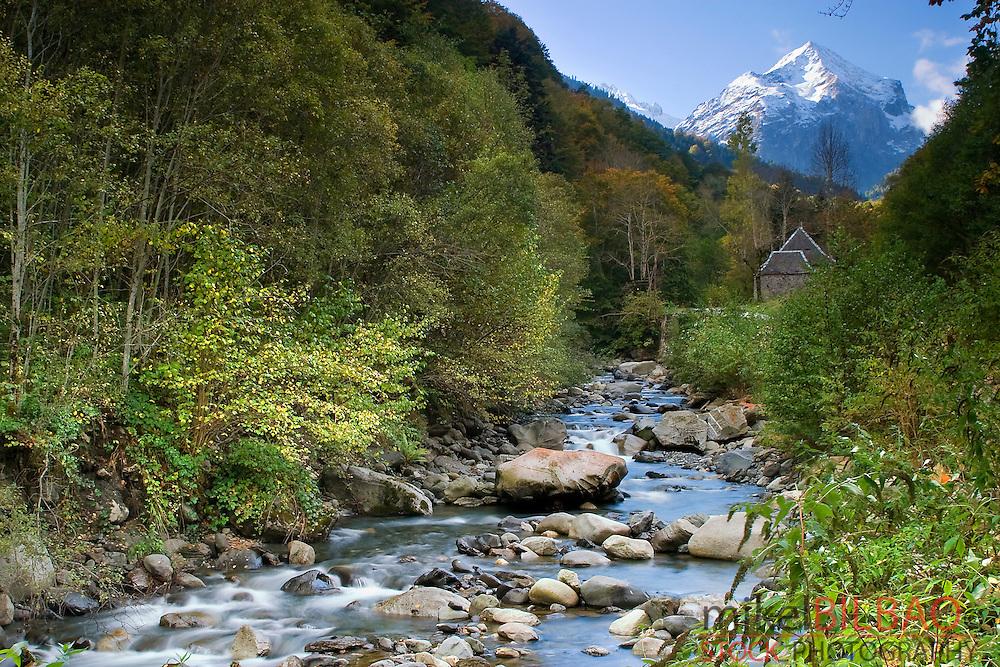 Joeu river in the road to Artiga de Lin.<br /> Aran Valley. Pyrenees mountain range. Lerida province.  Catalonia, Spain, Europe.