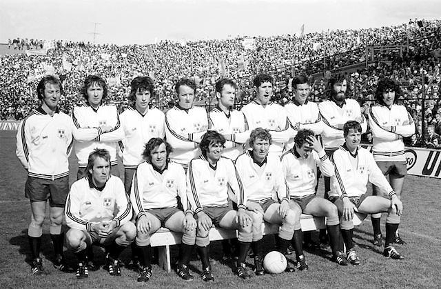 Dublin team before the All Ireland Senior Gaelic Football Championship Final Dublin V Galway at Croke Park on the 22nd September 1974. Dublin 0-14 Galway 1-06.