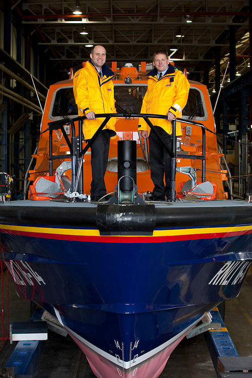 10/01/2012  Devonport , Plymouth RNLI Lifeboat Diamond Jubilee being built at Devonport with crew members Mark Sawyer , RNLO Eastbourne Coxwain and Dan Guy ( on right in first set of portraits - baldish head ) Mechanic on the RNLI Eastbourne. The half built boat is the RNLI Diamond Jubilee - the pic with the twu guys on the bow in the shed is a Tamar Class Lifeboat exactly the same as the Diam Jub , but called the City of London III and was in for repair from Sennen Cove. Out on the water the boat wasa relief TAMAR class boat again exactly the same as the new boat.