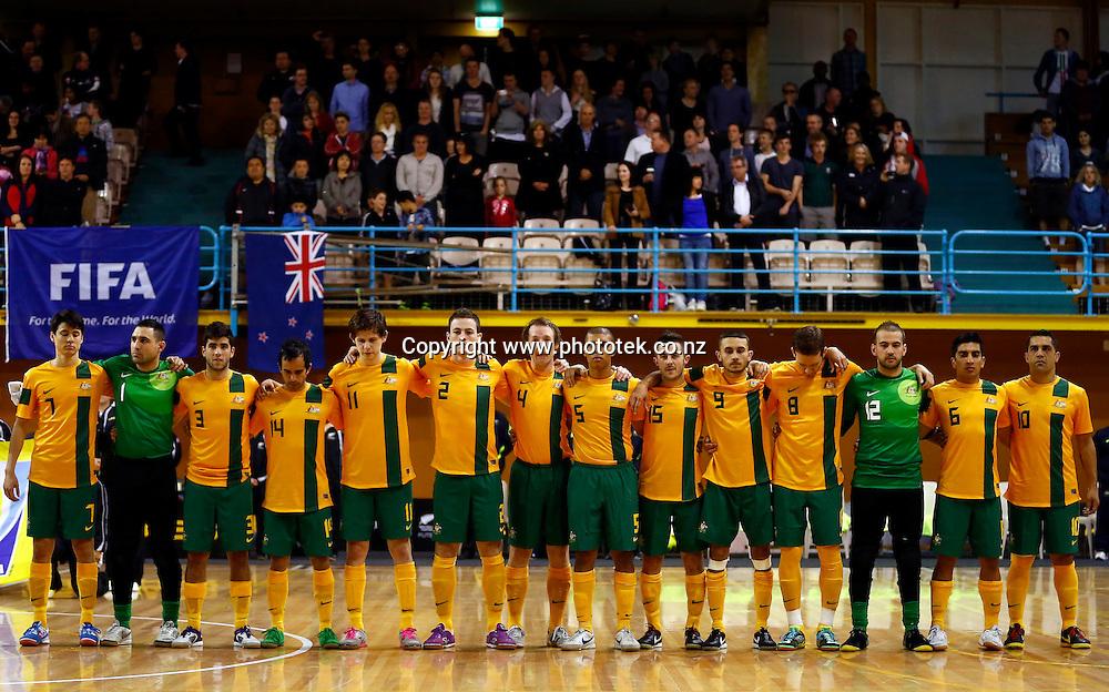 Futsal Roos during the national anthems. ASB Trans Tasman Cup, Futsal Whites v Futsal Roos, ASB Stadium, Kohimarama, Friday 21st September 2012. Photo: Shane Wenzlick