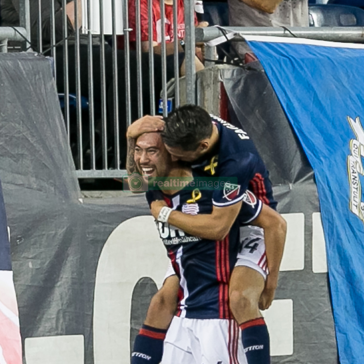September 23, 2017 - Foxborough, Massachusetts, USA - Foxborough, Massachusetts - September 23, 2017: In a Major League Soccer (MLS) match, New England Revolution (blue/white) defeated Toronto FC (red), 2-1, at Gillette Stadium..Lee Nguyen celebrates 50th career goal. (Credit Image: © Andrew Katsampes/ISIPhotos via ZUMA Wire)