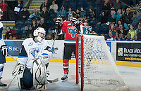 KELOWNA, CANADA - NOVEMBER 24: The Kelowna Rockets score a goal against the  Saskatoon Blades at the Kelowna Rockets on November 24, 2012 at Prospera Place in Kelowna, British Columbia, Canada (Photo by Marissa Baecker/Shoot the Breeze) *** Local Caption ***