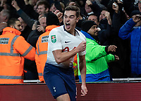 Football - 2018 / 2019 EFL Carabao Cup (League Cup) - Quarter-Final: Arsenal vs. Tottenham Hotspur<br /> <br /> Harry Winks (Tottenham FC) celebrates in front of the away supporters after his teams second goal at The Emirates.<br /> <br /> COLORSPORT/DANIEL BEARHAM