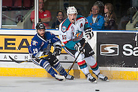 KELOWNA, CANADA - SEPTEMBER 3: Tomas Soustal #15 of Kelowna Rockets passes the puck as Dante Hannoun #19 of Victoria Royals back checks during first period on September 3, 2016 at Prospera Place in Kelowna, British Columbia, Canada.  (Photo by Marissa Baecker/Shoot the Breeze)  *** Local Caption *** Tomas Soustal; Dante Hannoun;