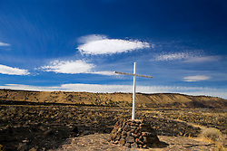 Cross marking the location where General Canby was killed by Indians in 1873, Lava Beds National Monument, California