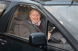 © Licensed to London News Pictures. 21/02/2016. Thame, UK. Boris Johnson smiles as he leaves his Oxfordshire home. The London Mayor is yet to announce if he will support an EU exit vote or back the Prime Minister. Photo credit: Peter Macdiarmid/LNP