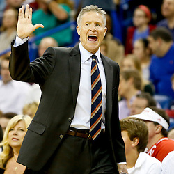Nov 16, 2013; New Orleans, LA, USA; Philadelphia 76ers head coach Brett Brown against the New Orleans Pelicans during the first half of a game at New Orleans Arena. Mandatory Credit: Derick E. Hingle-USA TODAY Sports