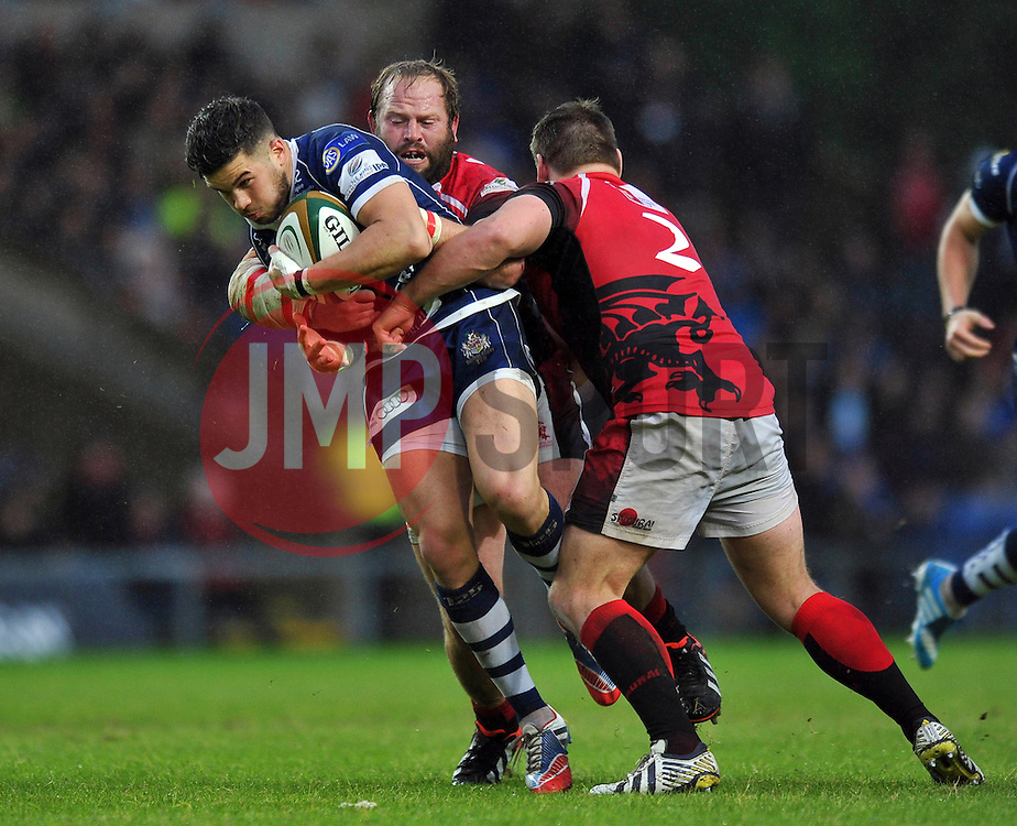 Ben Mosses (Bristol) is double-tackled by Peter Edwards and Nathan Morris (London Welsh) - Photo mandatory by-line: Patrick Khachfe/JMP - Tel: Mobile: 07966 386802 28/05/2014 - SPORT - RUGBY UNION - Kassam Stadium, Oxford - London Welsh v Bristol Rugby - Greene King IPA Championship.