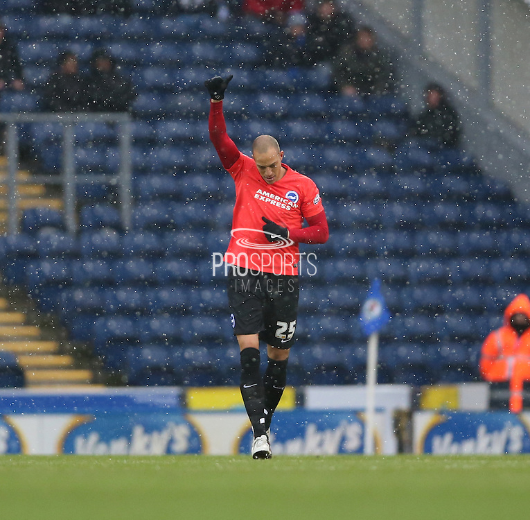 Brighton striker, Bobby Zamora (25) scores 1-0 during the Sky Bet Championship match between Blackburn Rovers and Brighton and Hove Albion at Ewood Park, Blackburn, England on 16 January 2016.