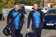 AFC Wimbledon striker Joe Pigott (39) and AFC Wimbledon midfielder Mitchell (Mitch) Pinnock (11) arriving during the EFL Sky Bet League 1 match between AFC Wimbledon and Shrewsbury Town at the Cherry Red Records Stadium, Kingston, England on 3 November 2018.