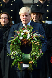 Foreign Secretary Boris Johnson during the annual Remembrance Sunday Service at the Cenotaph memorial in Whitehall, central London, held in tribute for members of the armed forces who have died in major conflicts. Picture date: Sunday November 13th, 2016. Photo credit should read: Matt Crossick/ EMPICS Entertainment.