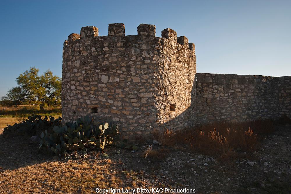 Presidio de San Saba fortress established in 1751 by Spanish, Texas frontier near current Menard, Texas