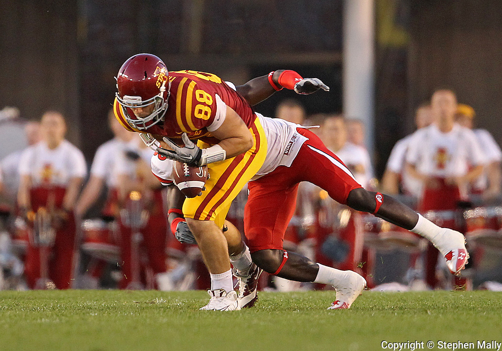 October 9 2010: Iowa State Cyclones tight end Collin Franklin (88) is hit by Utah Utes cornerback Justin Taplin-Ross (33) as he pulls in a pass during the first half of the NCAA football game between the Utah Utes and the Iowa State Cyclones at Jack Trice Stadium in Ames, Iowa on Saturday October 9, 2010. Utah defeated Iowa State 68-27.