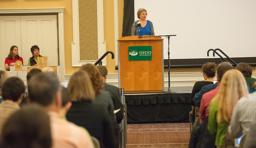 Administrative Senate Chair Cathy Waller speaks at the Adminstratrive Service Awards