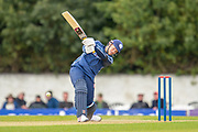 Scotland's George Munsey plays a shot during the One Day International match between Scotland and Afghanistan at The Grange Cricket Club, Edinburgh, Scotland on 10 May 2019.