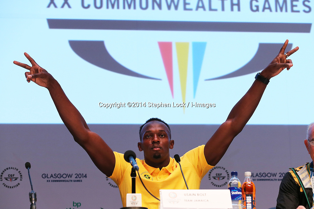 Image licensed to i-Images Picture Agency. 26/07/2014. Glasgow, United Kingdom. Usain Bolt  at a press conference on day three of the Commonwealth Games in Glasgow. Picture by Stephen Lock / i-Images