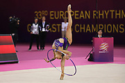 Katrin Taseva, Bulgaria, at the 33rd European Rhythmic Gymnastics Championships at Papp Laszlo Budapest Sports Arena, Budapest, Hungary on 21 May 2017. Photo by Myriam Cawston.