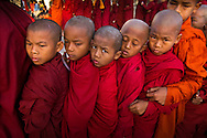 Novice monks at the Pagoda Festival in Bagan, Myanmar (Burma).