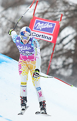 20.01.2011, Tofana, Cortina d Ampezzo, ITA, FIS World Cup Ski Alpin, Lady, Cortina, Abfahrt 2. Training, im Bild Blick von den Tribühnen im Bild Lindsey Vonn (USA, #15) // Lindsey Vonn (USA)  during FIS Ski Worldcup ladies downhill second training at pista Tofana in Cortina d Ampezzo, Italy on 20/1/2011. EXPA Pictures © 2011, PhotoCredit: EXPA/ J. Groder