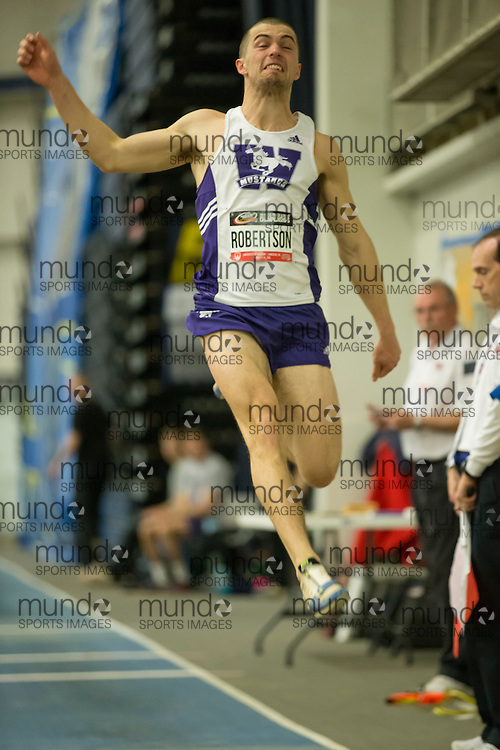 Windsor, Ontario ---2015-03-12--- Chris Robertson of Western University competes in the pentathlon long jump  at the 2015 CIS Track and Field Championships in Windsor, Ontario, March 12, 2015.<br /> GEOFF ROBINS/ Mundo Sport Images
