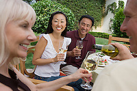 Two couples drinking wine in garden