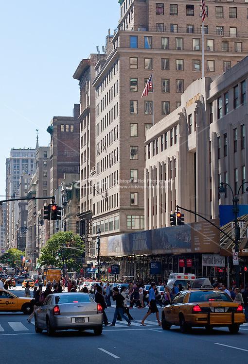 6th avenue street scene in New york City in October 2008
