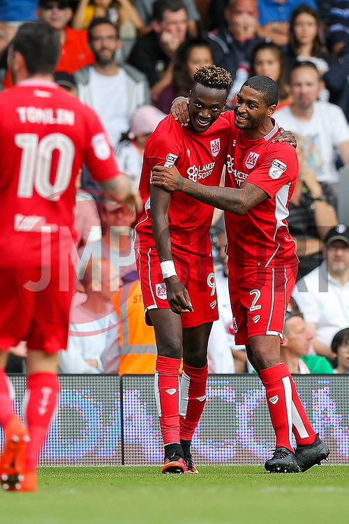 Tammy Abraham of Bristol City celebrates scoring a goal to make it 0-1 - Rogan Thomson/JMP - 24/09/2016 - FOOTBALL - Craven Cottage Stadium - London, England - Fulham v Bristol City - Sky Bet EFL Championship.