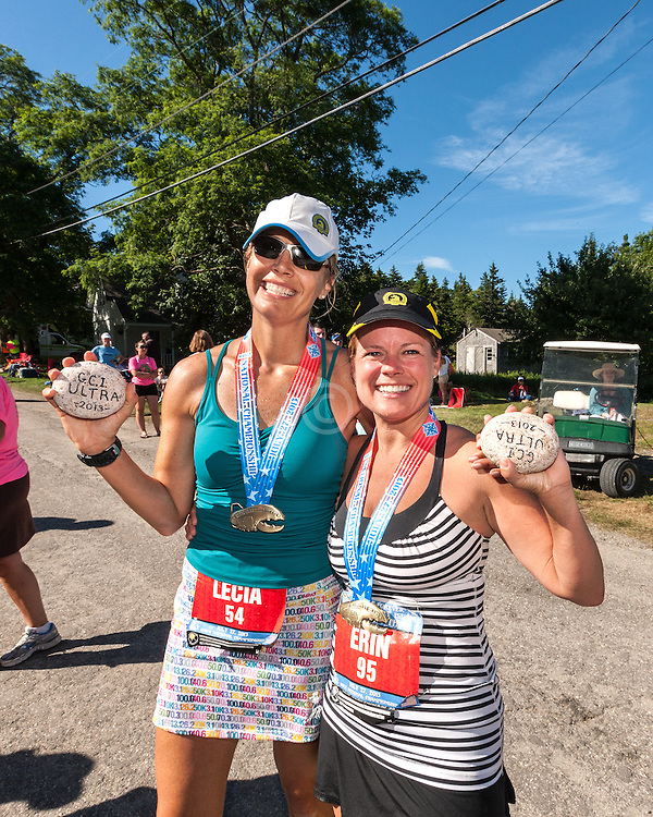 Great Cranberry Island Ultra 50K road race: Lecia and Erin show off finisher rocks
