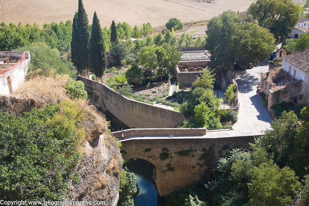 Puente San Miguel crossing the Rio Guadalevin river , Ronda, Spain historic bridge