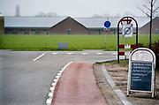 Nederland, Boekel, 10-2-2018Megastallen op de achtergrond en verkoop van varkensvlees in het buitengebied.Foto: Flip Franssen