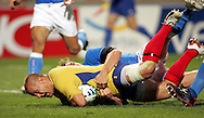 Marseille, FRANCE - 12th September 2007, Carlo Festuccia of Romania dives over for a try during the Rugby World Cup, pool C, match between Italy and Romania held at the Stade Velodrome in Marseille, France...Photo: Ron Gaunt/ Sportzpics