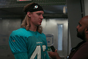 Miami Dolphins running back Patrick Laird (42) speaks with reporters after indoor practice during training camp at the Baptist Health Training Facility at Nova Southeastern University, Friday, August 2, 2019, in Davie, Fla. (Kim Hukari/Image of Sport)