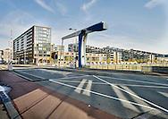 Appartementen en woonhuizen bij de Spoorweghavenbrug, Kop van Zuid, Rotterdam - Apartments at the Kop van Zuid, Rotterdam, Netherlands