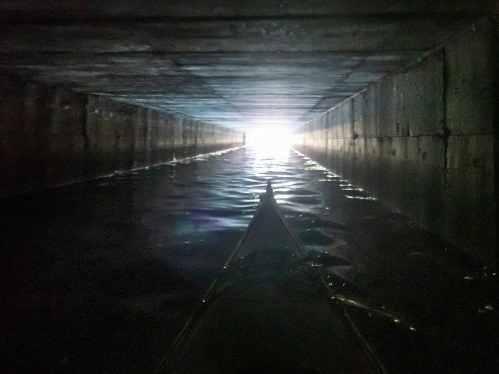 The light at the end of the tunnel. Under highway 101. Gallinas Creek
