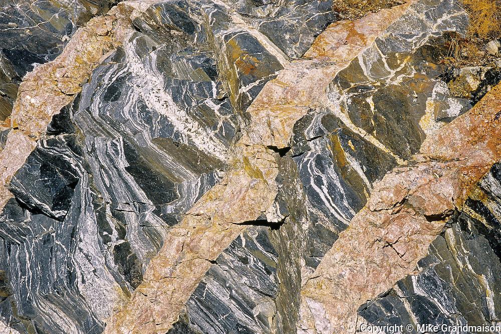 Detail of veins in rock<br /> Schreiber<br /> Ontario<br /> Canada