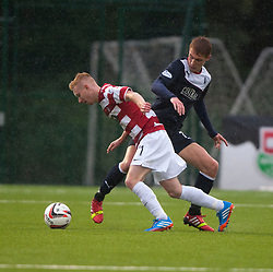 Hamilton's Alistair Crawford and Falkirk's Jay Fulton.<br /> Hamilton 2 v 0 Falkirk, Scottish Championship played today at New Douglas Park.<br /> &copy;Michael Schofield.