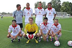 03.07.2010, Trainingsgelände, Nuernberg, GER, 1. FBL, Training 1. FC Nürnberg, im Bild Aufstellung der Neuzugaenge, hintere Reihe v. l. Trainer Dieter Hecking (FCN), Julian Schieber (#23), Per Nilsson (#3), Rubin Okotie (#29) vordere Reihe v. l. Almog Cohen (#18), Torwart Daniel Bratz (#32), Mehmet Ekici (#37), Robert Mak (#14) EXPA Pictures © 2010, PhotoCredit: EXPA/ nph/  Becher / SPORTIDA PHOTO AGENCY