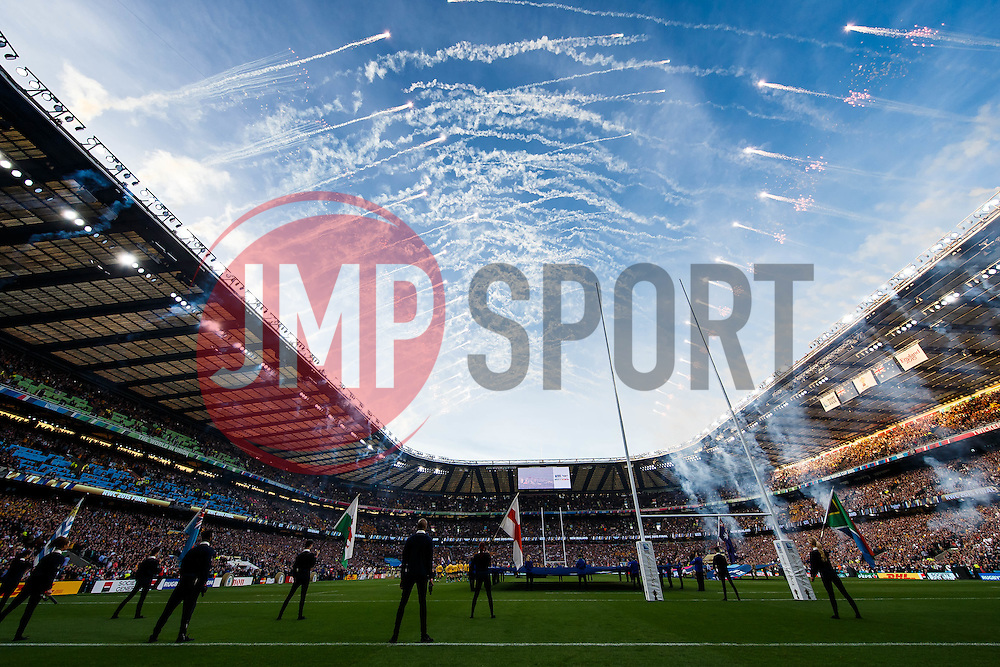 General View of pyrotechnics in the stadium as the teams take to the field - Mandatory byline: Rogan Thomson/JMP - 07966 386802 - 31/10/2015 - RUGBY UNION - Twickenham Stadium - London, England - New Zealand v Australia - Rugby World Cup 2015 FINAL.