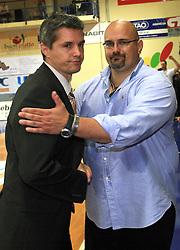 Coaches Zoran Martic and Aleksandar Dzikic after fourth (last) final match of UPC Telemach league and Slovenian  National Championship  between KK Helios Domzale, Domzale and Union Olimpija, Ljubljana, Slovenia, on June 7, 2008, in Komunalni center hall in Domzale. Match was won by Union Olimpija 84:60 and Olimpija became National Champion 2007/2008 fourteen times in history of Slovenia. (Photo by Vid Ponikvar / Sportal Images)