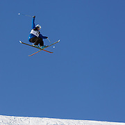 Jonas Hunziker, Switzerland, in action during the Freeski Slopestyle Men's Final at Snow Park, New Zealand during the Winter Games. Wanaka, New Zealand, 18th August 2011. Photo Tim Clayton