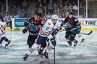 KELOWNA, CANADA - SEPTEMBER 22: Quinn Benjafield #22 of the Kamloops Blazers is back checked by Conner Bruggen-Cate #20 of the Kelowna Rockets on September 22, 2017 at Prospera Place in Kelowna, British Columbia, Canada.  (Photo by Marissa Baecker/Shoot the Breeze)  *** Local Caption ***