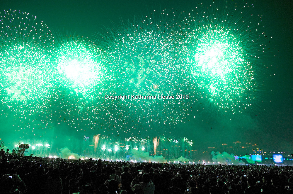 SHANGHAI, APRIL 30, 2010 : visitors watch the  fireworks during the World Expo launch.