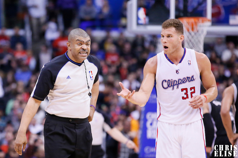 18 February 2014: Los Angeles Clippers power forward Blake Griffin (32) reacts to Tony Brothers technical call on him during the San Antonio Spurs 113-103 victory over the Los Angeles Clippers at the Staples Center, Los Angeles, California, USA.