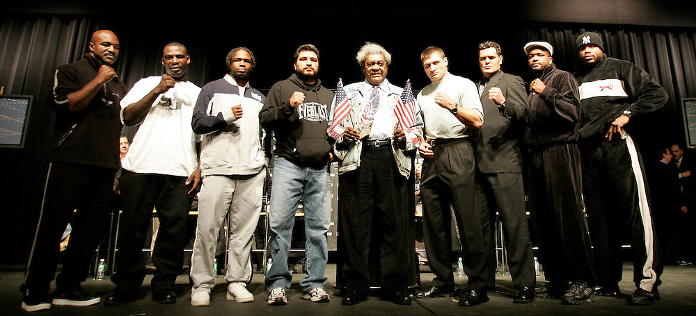 (L-R) Evander Holyfield, Hasim Rahman, Chris Byrd, John Ruiz, Don King, Andrew Golota, Kali Meehan, Larry  Donald, and Jameel McCline pose for photographers with promoter Don King (C) at press conference at Madison Square Garden in New York City Wednesday 10 November 2004. They will fight at Madison Square Garden on Saturday 13 November 2004. EPA/ANDREW GOMBERT