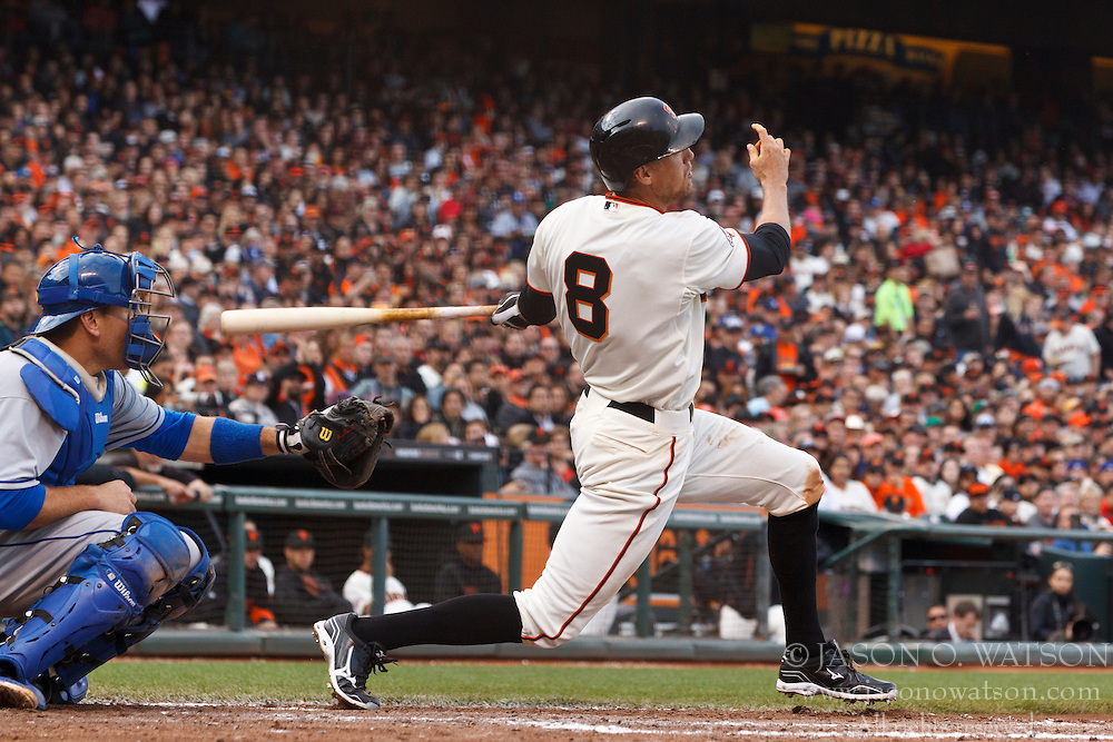 SAN FRANCISCO, CA - MAY 05: Hunter Pence #8 of the San Francisco Giants at bat against the Los Angeles Dodgers during the fifth inning at AT&T Park on May 5, 2013 in San Francisco, California. The San Francisco Giants defeated the Los Angeles Dodgers 4-3. (Photo by Jason O. Watson/Getty Images) *** Local Caption *** Hunter Pence