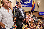 28 AUGUST 2012 - SCOTTSDALE, AZ:  Supporters of Ben Quayle react to early vote results showing Quayle losing to Republican rival David Schweikert. Schweikert faced Congressman Ben Quayle in what was the hardest Republican primary election in Arizona in 2012. Both were incumbent Republican freshmen elected to Congress from neighboring districts in 2010. They ended up in the same district at the end of the redistricting process and faced off against each other in the primary to represent Arizona's 6th Congressional District, which is made up of Scottsdale, Paradise Valley and parts of Phoenix. The district is solidly Republican and the winner of the primary is widely expected to win November's general election. Both are conservative Republicans with Tea Party backing. PHOTO BY JACK KURTZ