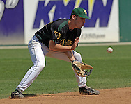 Baylor second basemen Ben Booker fields a ground ball in the fifth inning against Kansas State.  K-State defeated the Baylor Bears 3-1 at Tointon Stadium in Manhattan, Kansas, May 20, 2006.