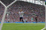GOAL Tottenham Hotspur midfielder Erik Lamela (11) celebrates the goal of Tottenham Hotspur midfielder Lucas (27) (not in picture) during the Pre-Season Friendly match between Tottenham Hotspur and Inter Milan at Tottenham Hotspur Stadium, London, United Kingdom on 4 August 2019.