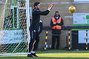 Forest Green Rovers goalkeeper James Montgomery warming up during the EFL Sky Bet League 2 match between Forest Green Rovers and Morecambe at the New Lawn, Forest Green, United Kingdom on 17 November 2018.